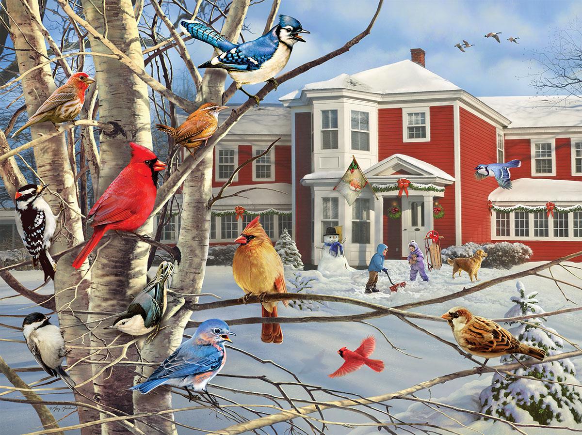 Winter Gathering Birds Jigsaw Puzzle
