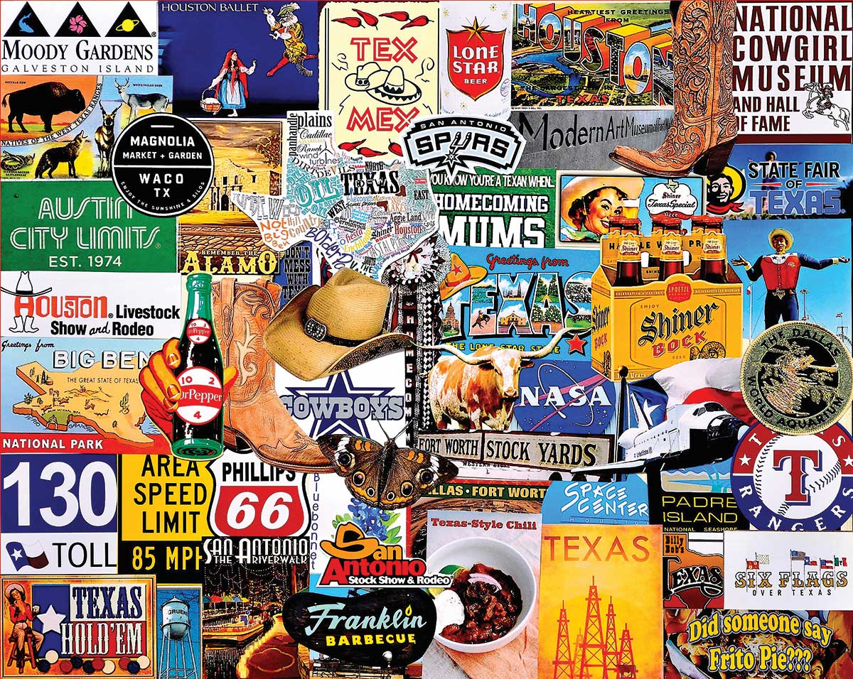 I Love Texas - Scratch and Dent Collage Jigsaw Puzzle