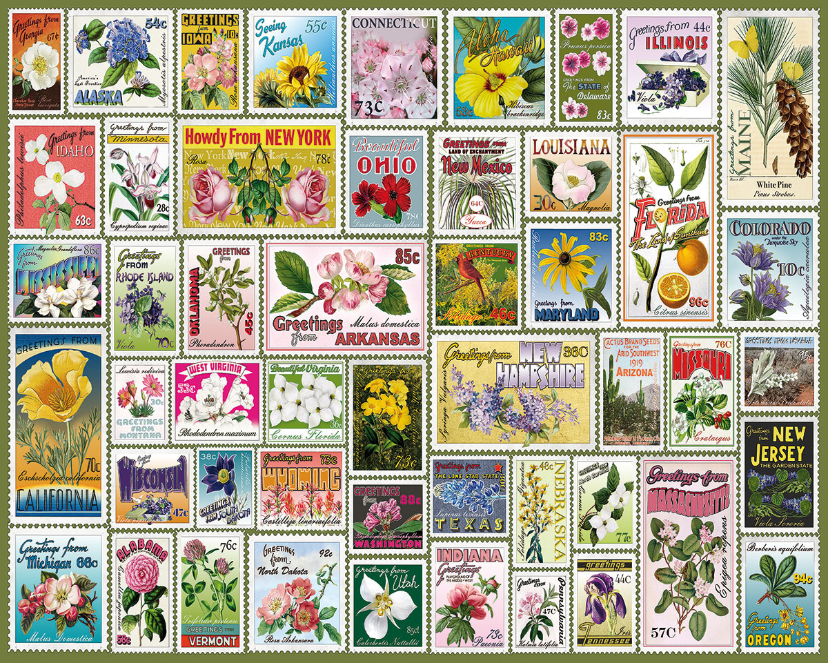 State Flower Stamps Collage Jigsaw Puzzle