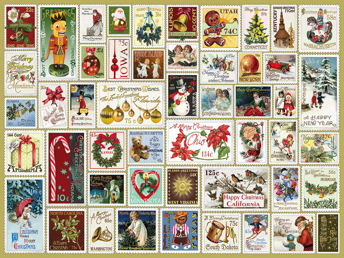 State Holiday Stamps Christmas Jigsaw Puzzle