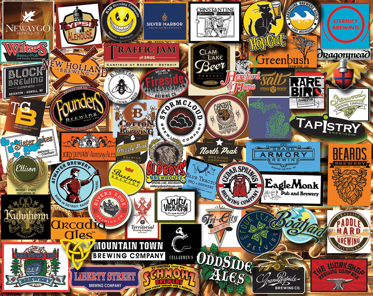 Michigan Beer Collage Jigsaw Puzzle