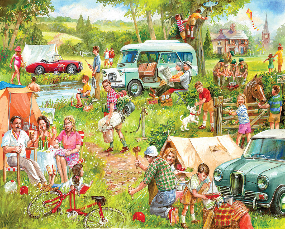 Happy Campers - Scratch and Dent Nostalgic / Retro Jigsaw Puzzle