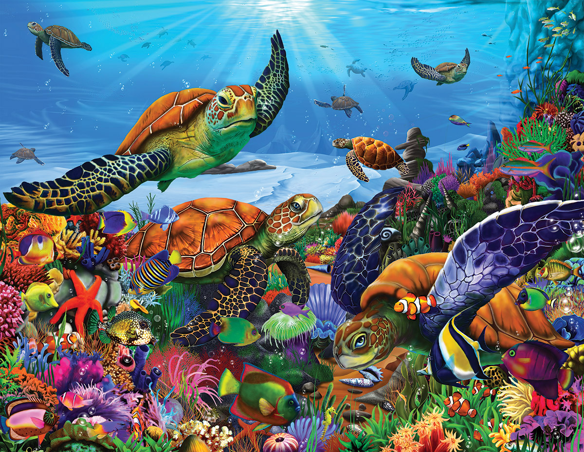 Amazing Sea Turtles Under The Sea Jigsaw Puzzle