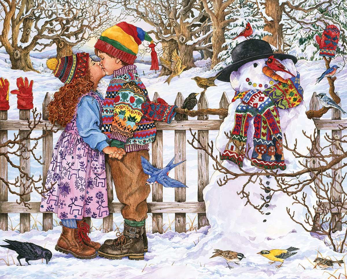 First Kiss Winter Jigsaw Puzzle