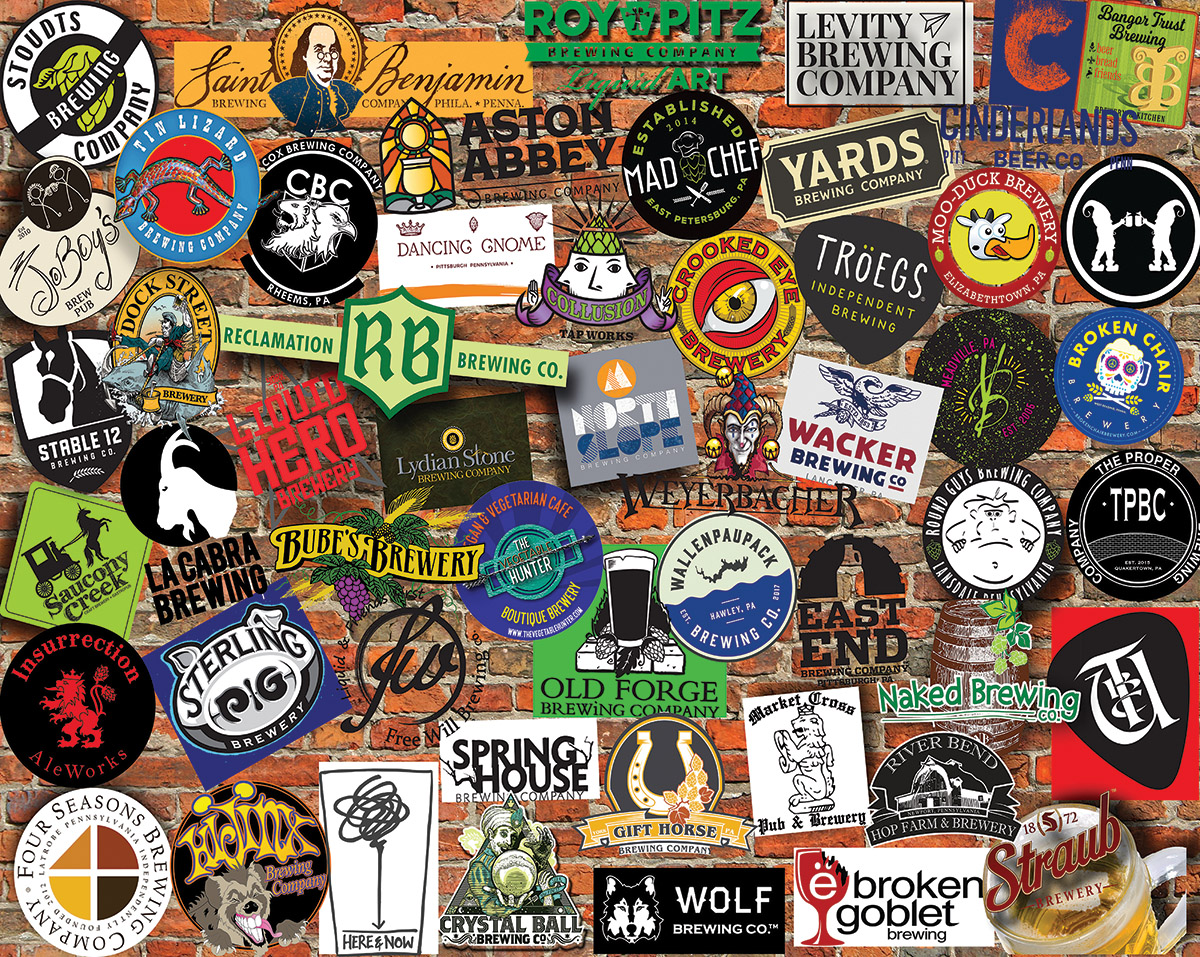 Pennsylvania Craft Beer Collage Jigsaw Puzzle
