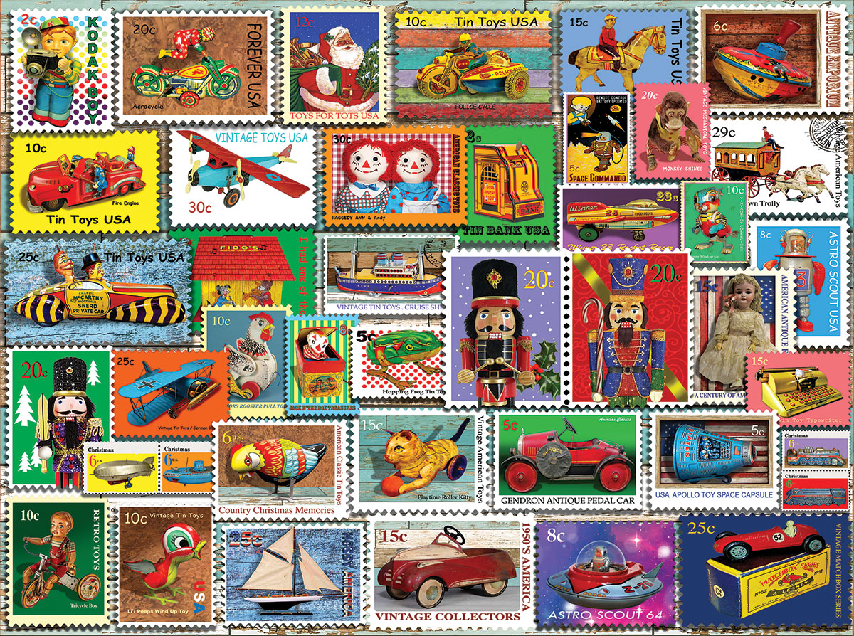 Christmas Toy Stamps Christmas Jigsaw Puzzle