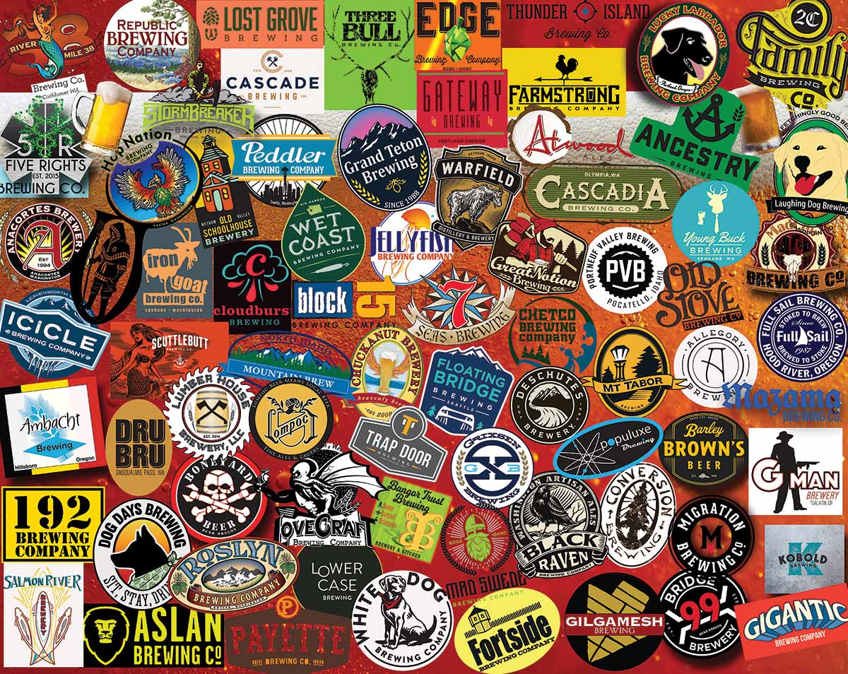 Pacific Northwest Beers Collage Jigsaw Puzzle