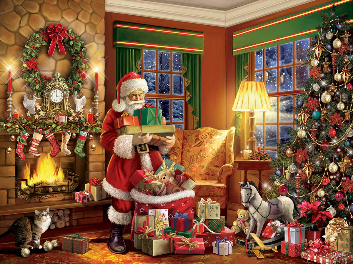 Delivering Gifts Santa Jigsaw Puzzle