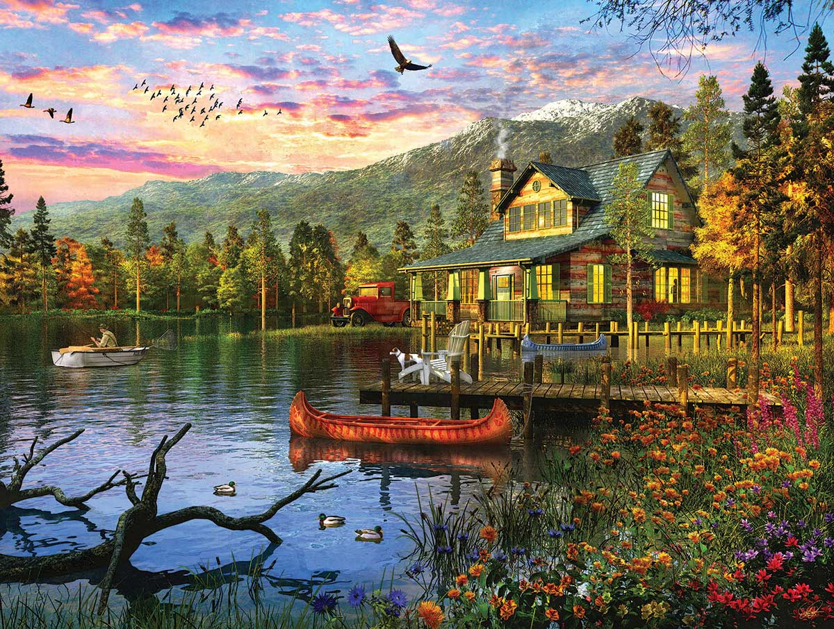 Sunset Cabin Birds Jigsaw Puzzle