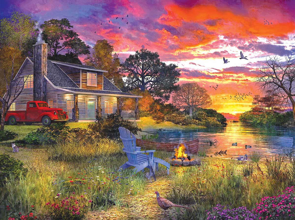 Evening Cabin Lakes / Rivers / Streams Jigsaw Puzzle