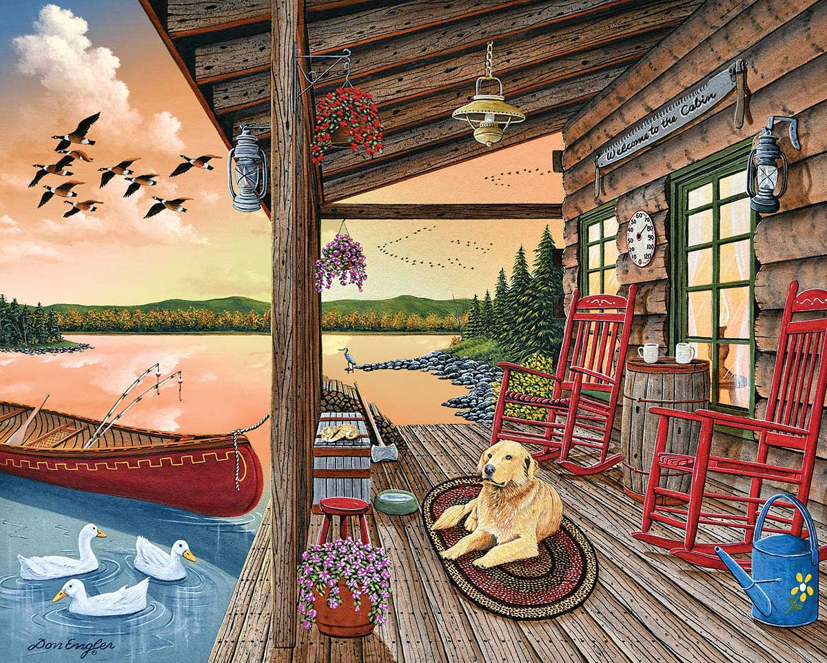 Welcome To The Cabin Dogs Jigsaw Puzzle