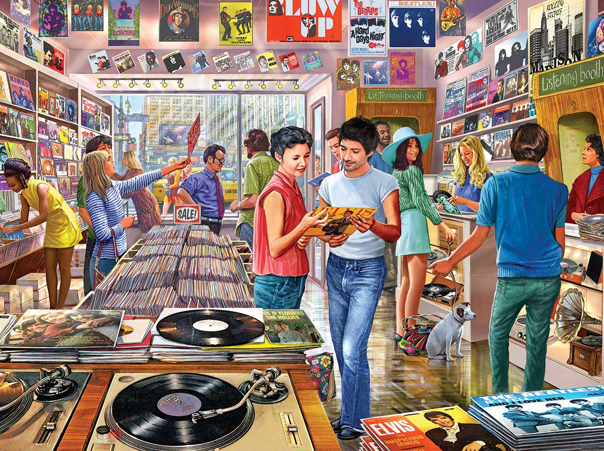 Vintage Record Store Music Jigsaw Puzzle