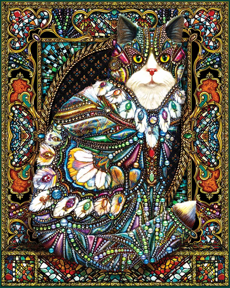 Jeweled Cat Cats Jigsaw Puzzle