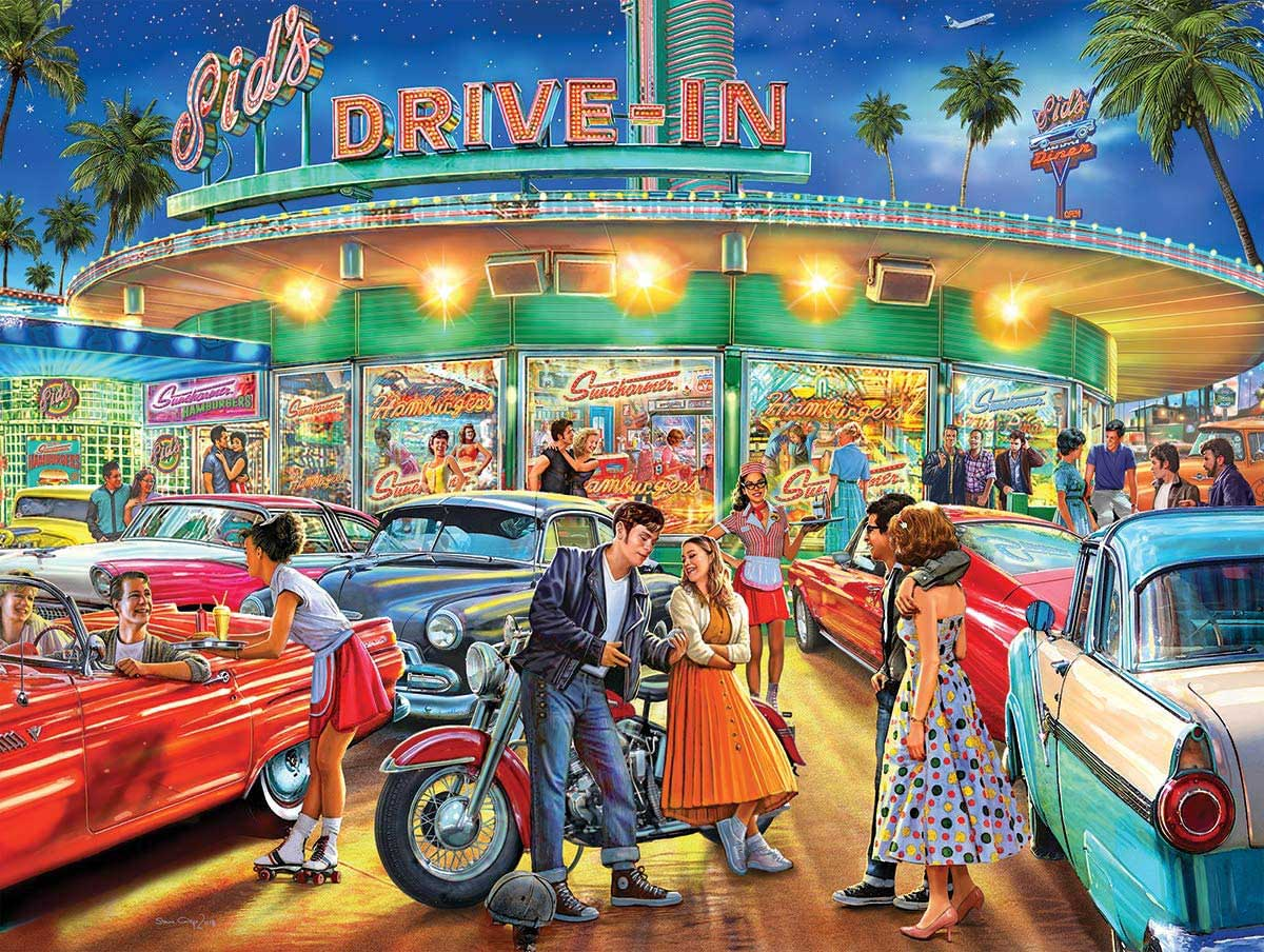 American Drive-In Cars Jigsaw Puzzle