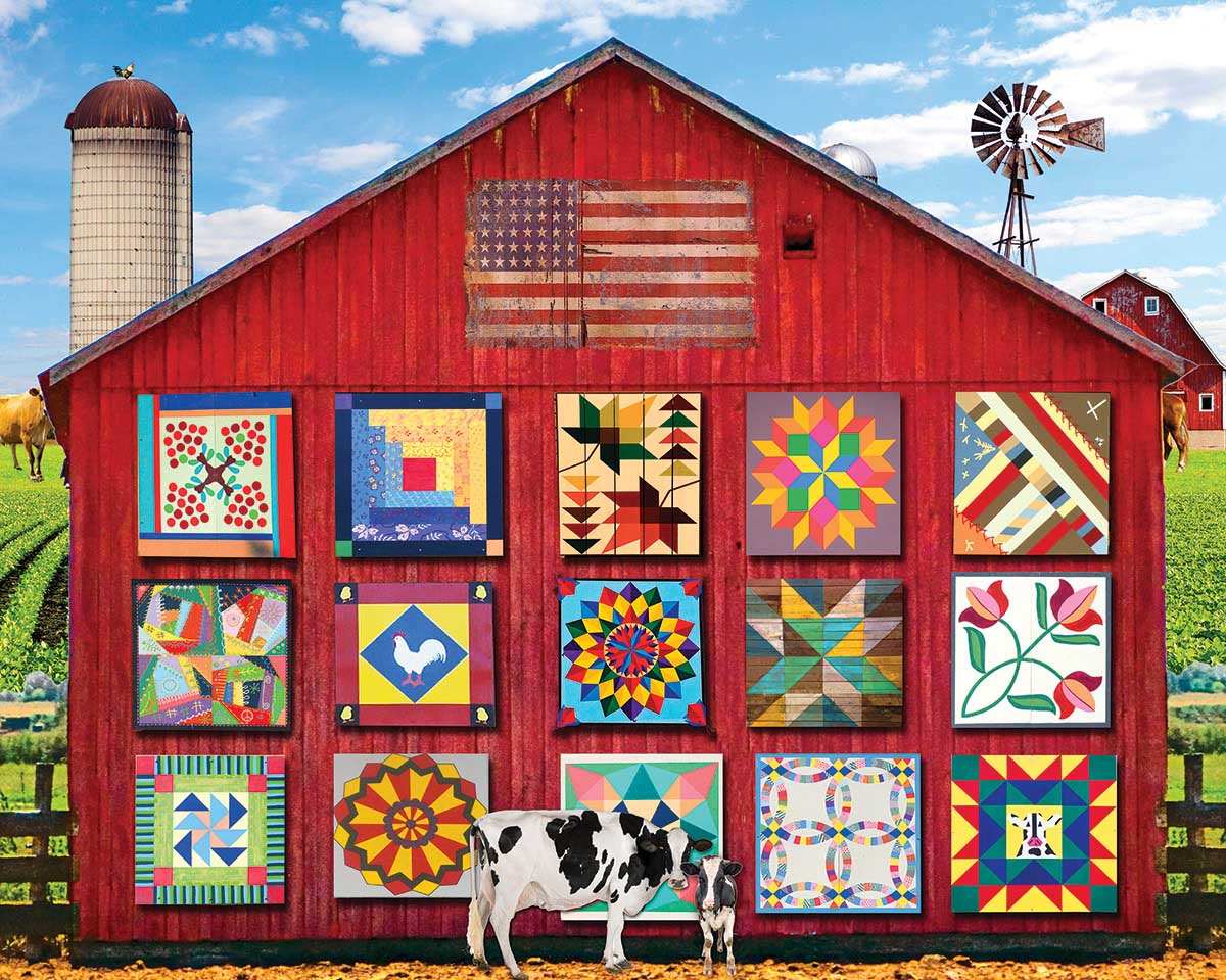 Barn Quilts Farm Jigsaw Puzzle