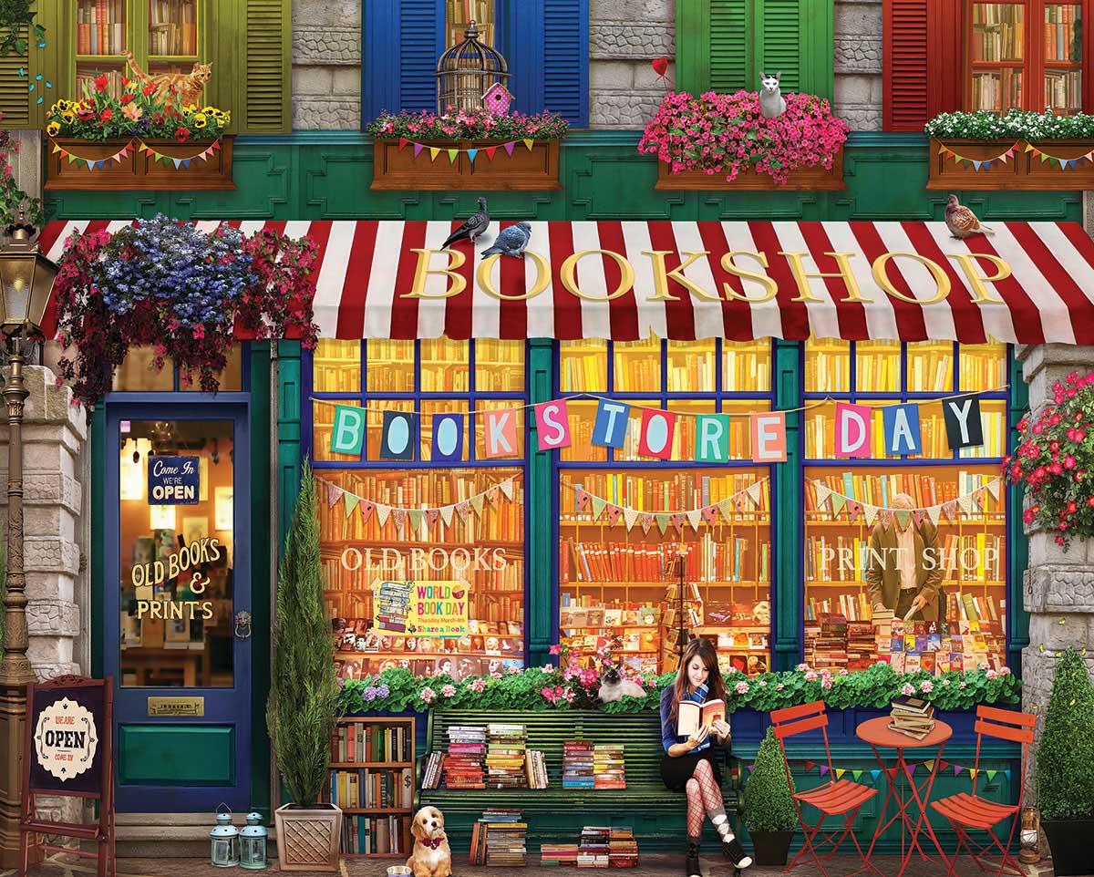 Vintage Bookshop Street Scene Jigsaw Puzzle