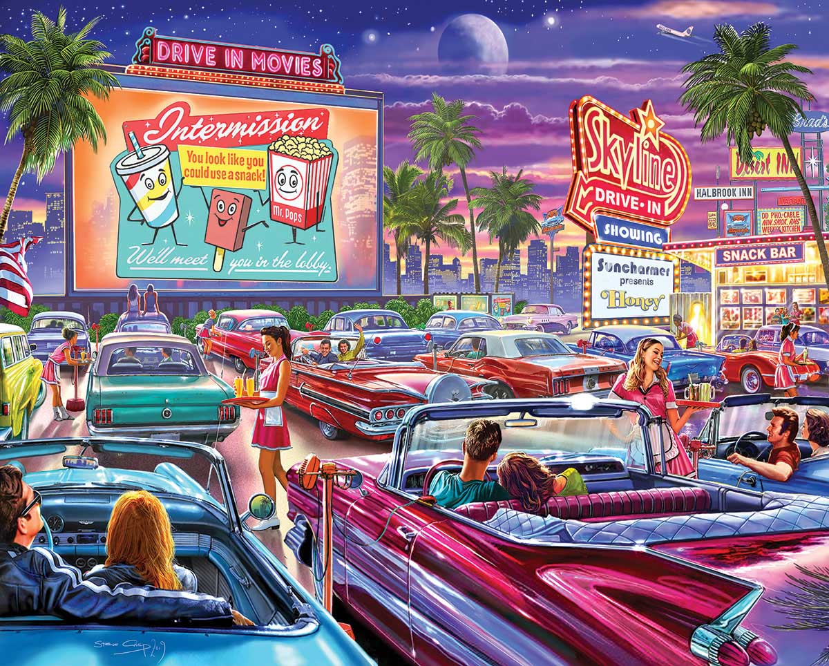 Drive-In Movie Cars Jigsaw Puzzle