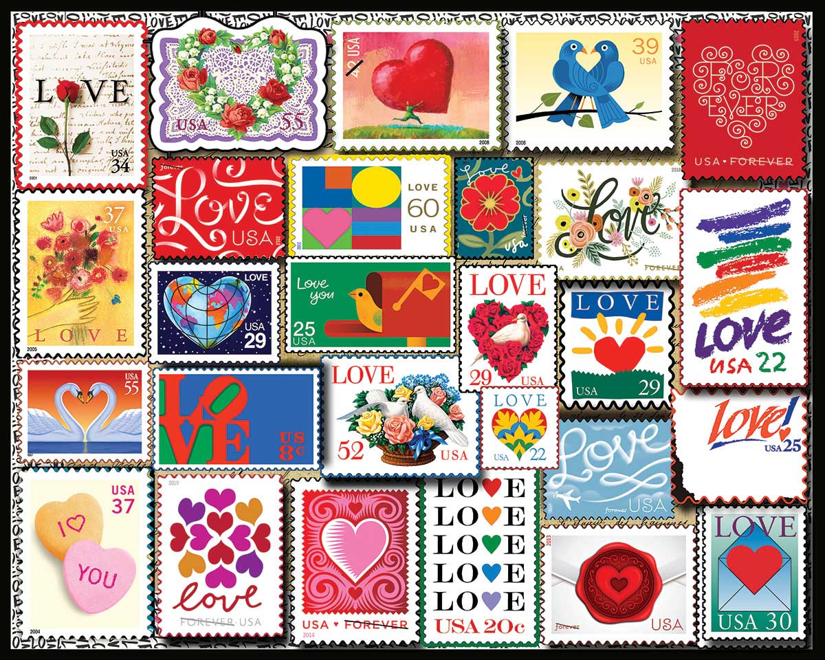 Love Stamps Collage Jigsaw Puzzle