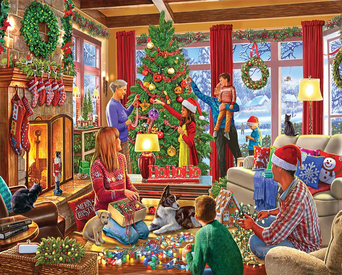 Decorating The Tree Dogs Jigsaw Puzzle