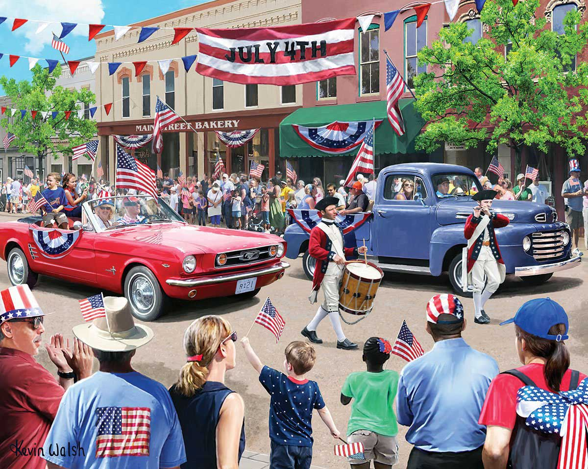 4th of July Parade Street Scene Jigsaw Puzzle