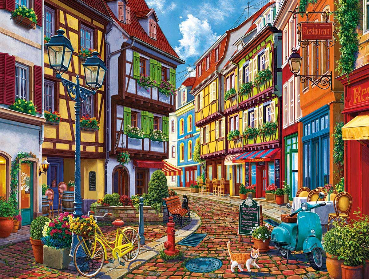 Old World Street Street Scene Jigsaw Puzzle