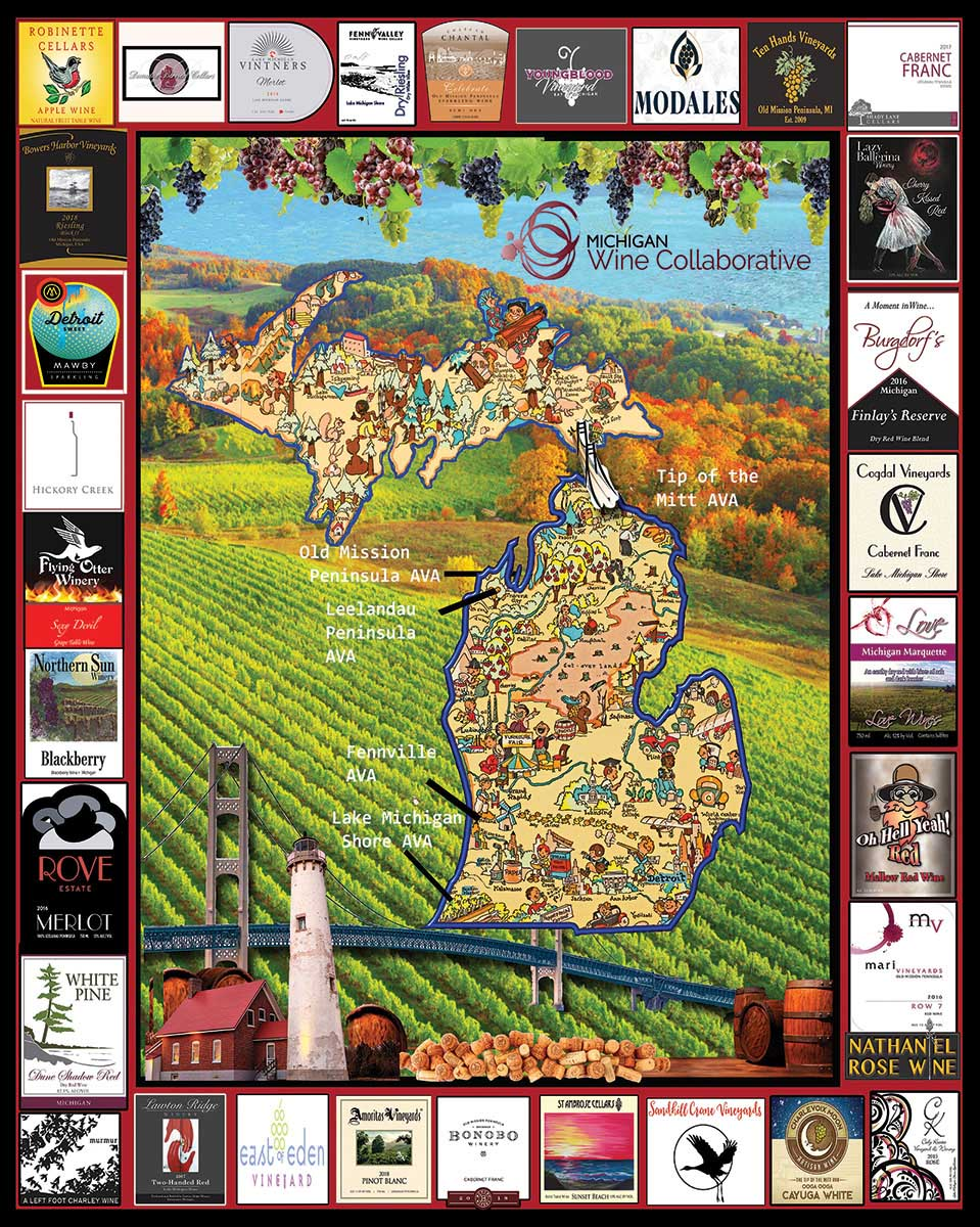 Michigan Wine Maps / Geography Jigsaw Puzzle