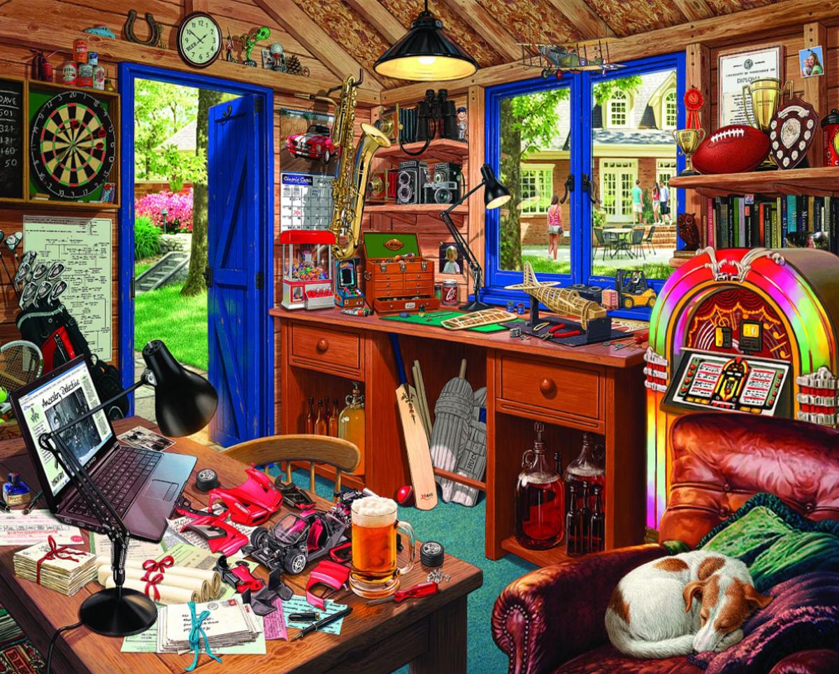 Dad's Hideaway Domestic Scene Jigsaw Puzzle