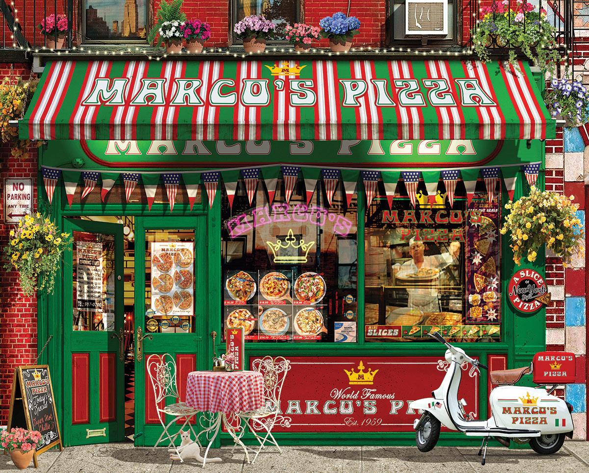 Pizza Parlor Street Scene Jigsaw Puzzle