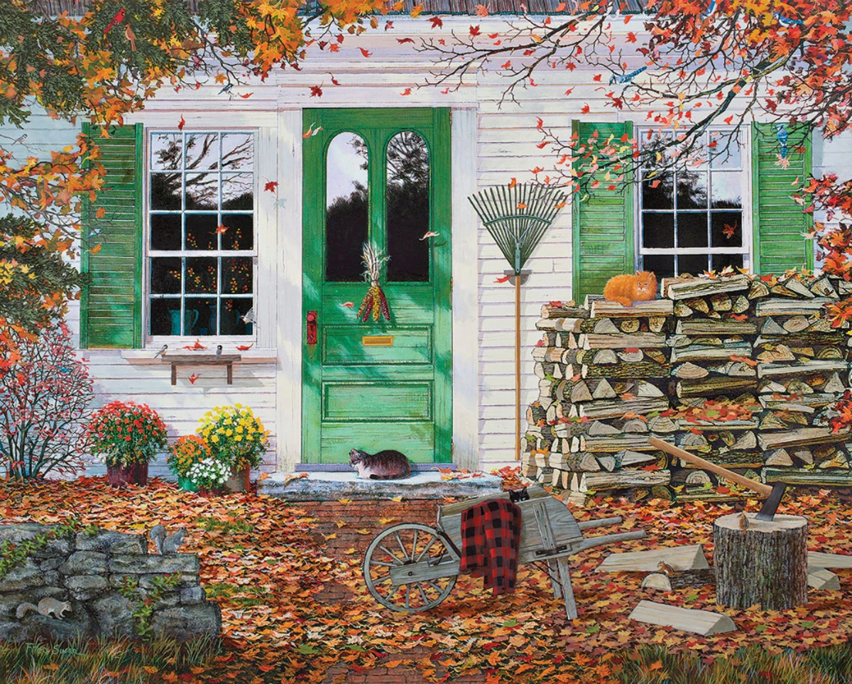 Autumn Leaves Cats Jigsaw Puzzle