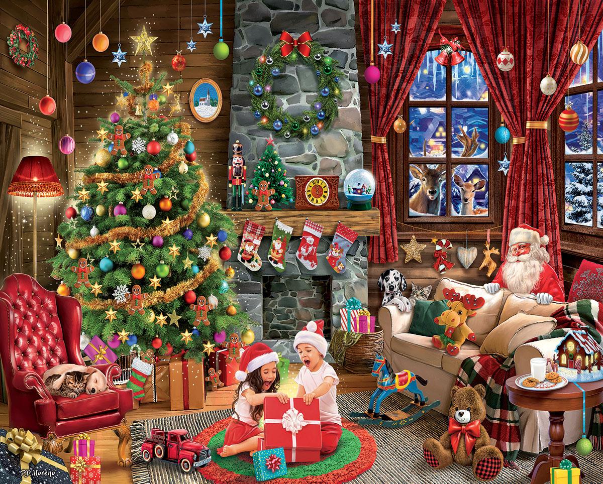 Opening Presents Santa Jigsaw Puzzle