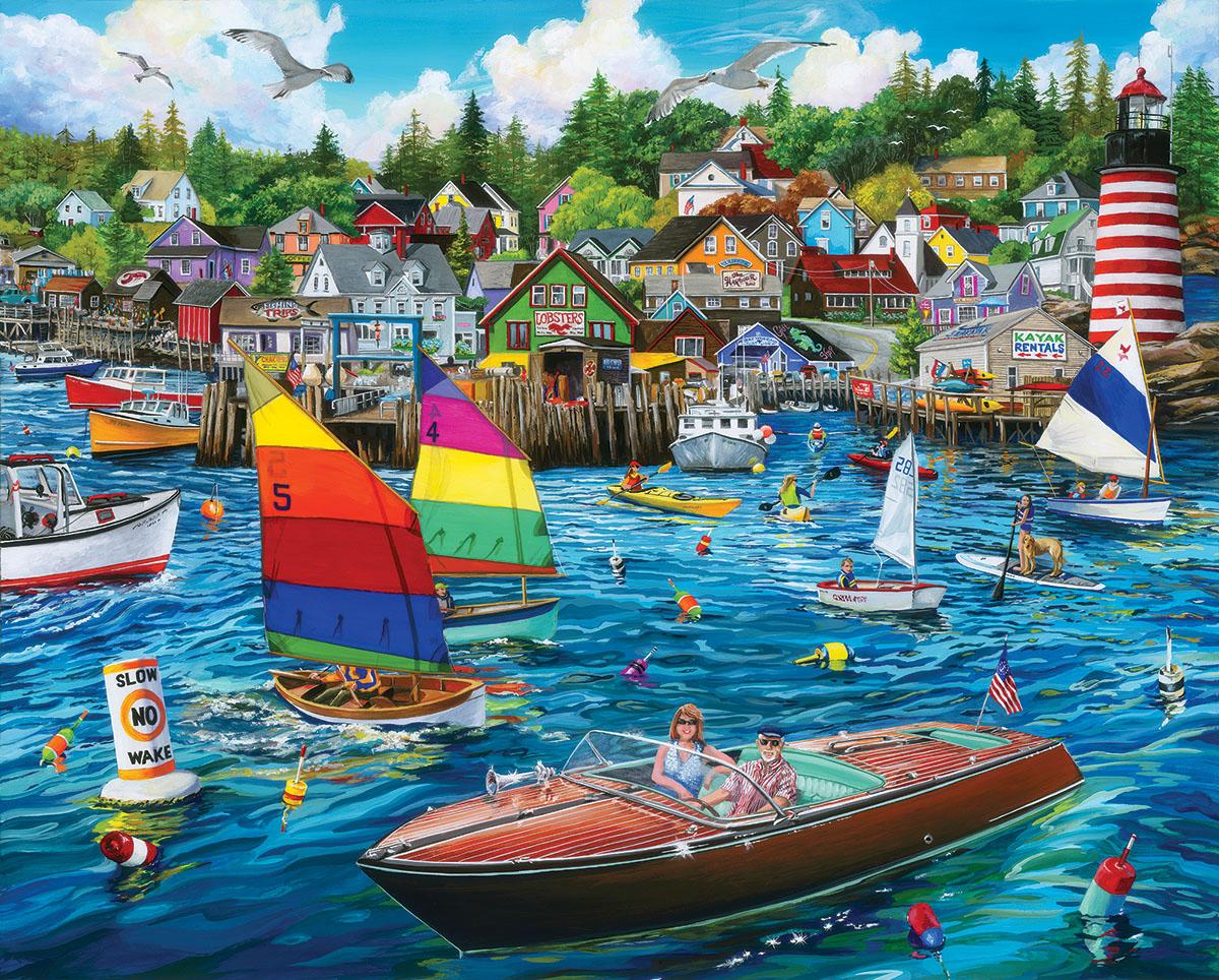 Harbor Fun Seascape / Coastal Living Jigsaw Puzzle