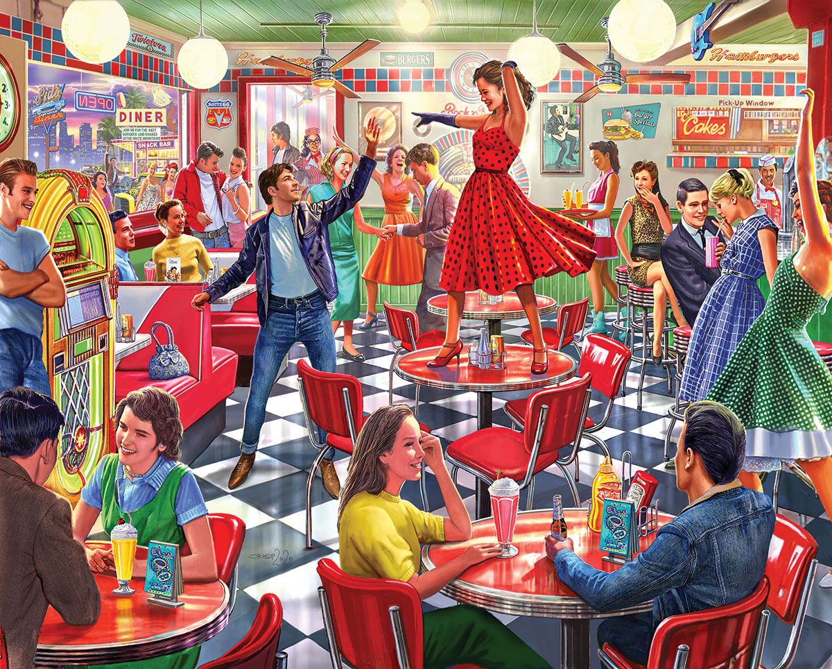 Dancing at the Diner Food and Drink Jigsaw Puzzle