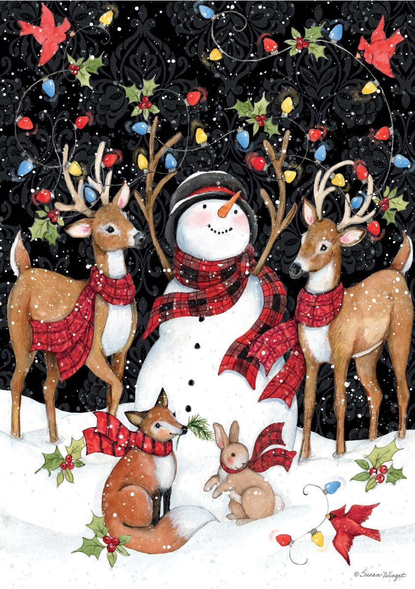 Snowy Lights Snowman Jigsaw Puzzle