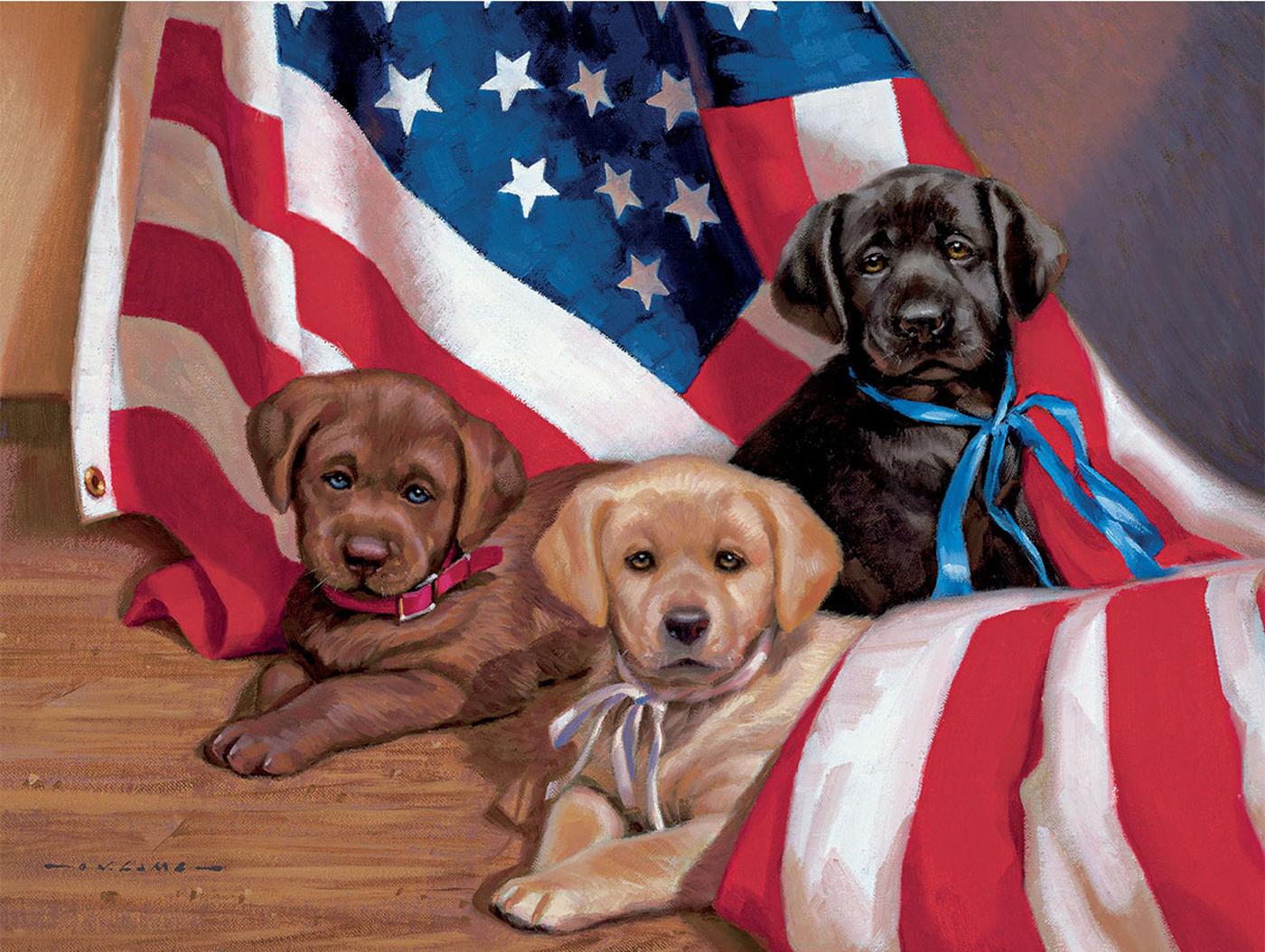 American Puppy Patriotic Jigsaw Puzzle
