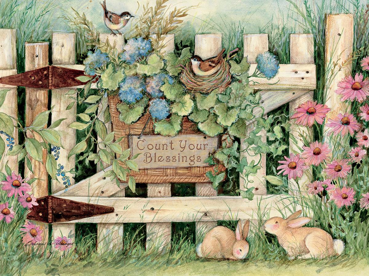 Garden Gate Flowers Jigsaw Puzzle