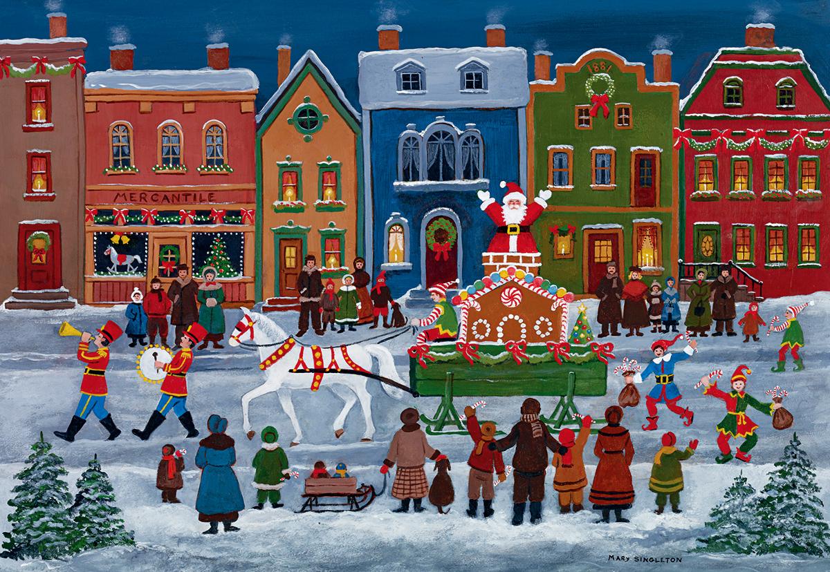 Christmas Parade Street Scene Jigsaw Puzzle
