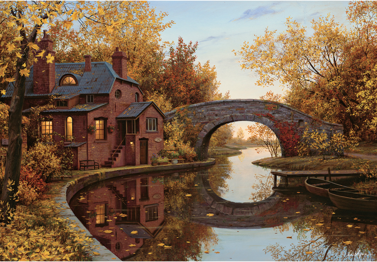 House By The River Fall Jigsaw Puzzle