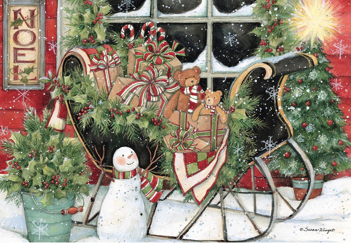 Santa'S Sleigh Snowman Jigsaw Puzzle
