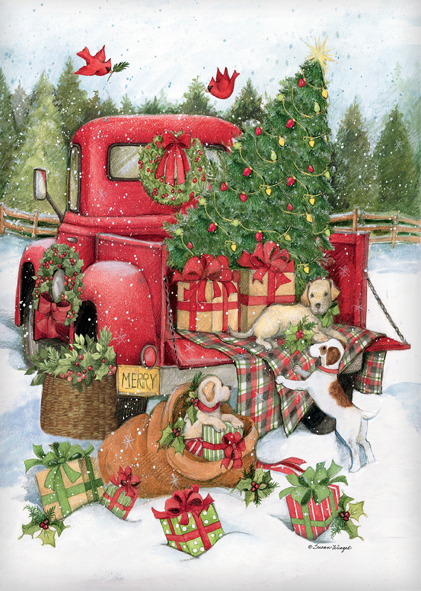 Santa'S Truck Dogs Jigsaw Puzzle