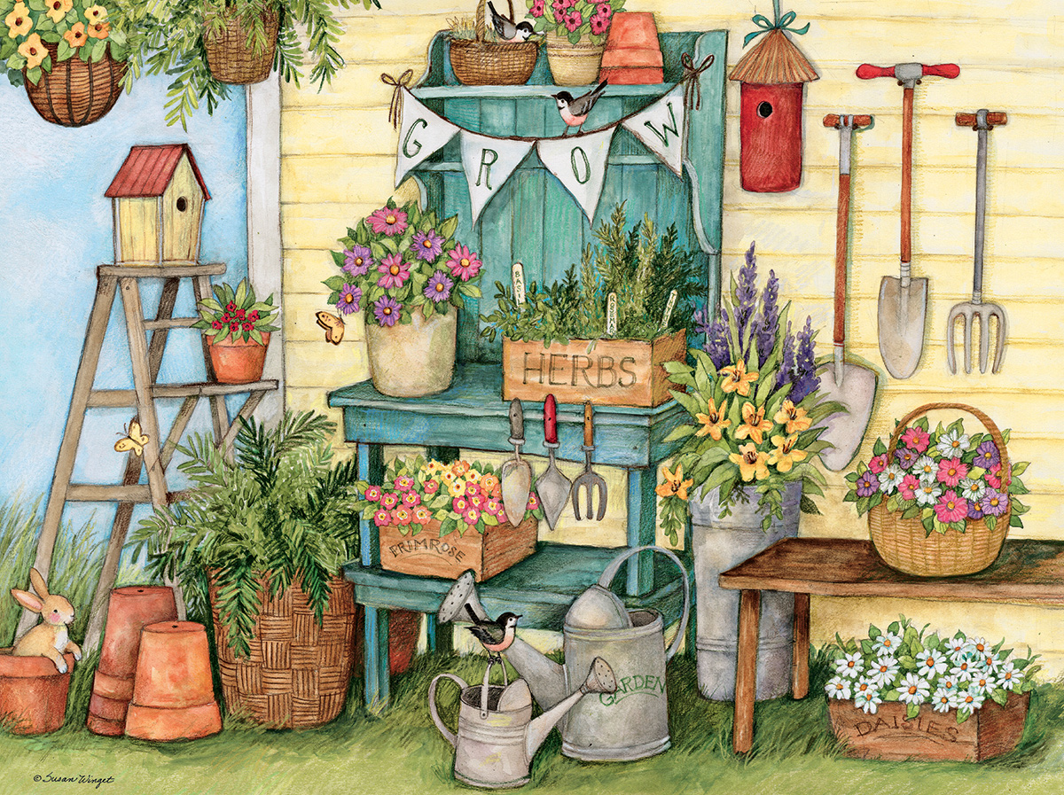 Potters Bench Flowers Jigsaw Puzzle