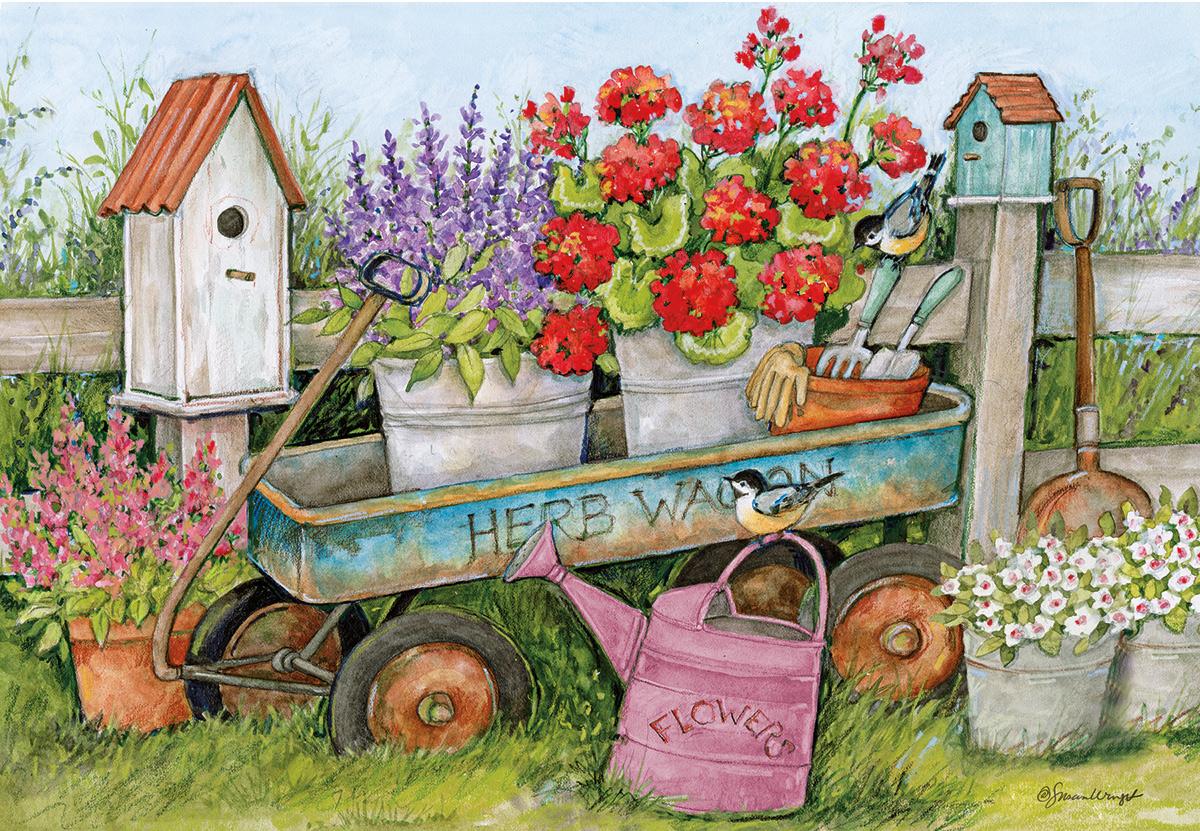 Blue Wagon Flowers Jigsaw Puzzle