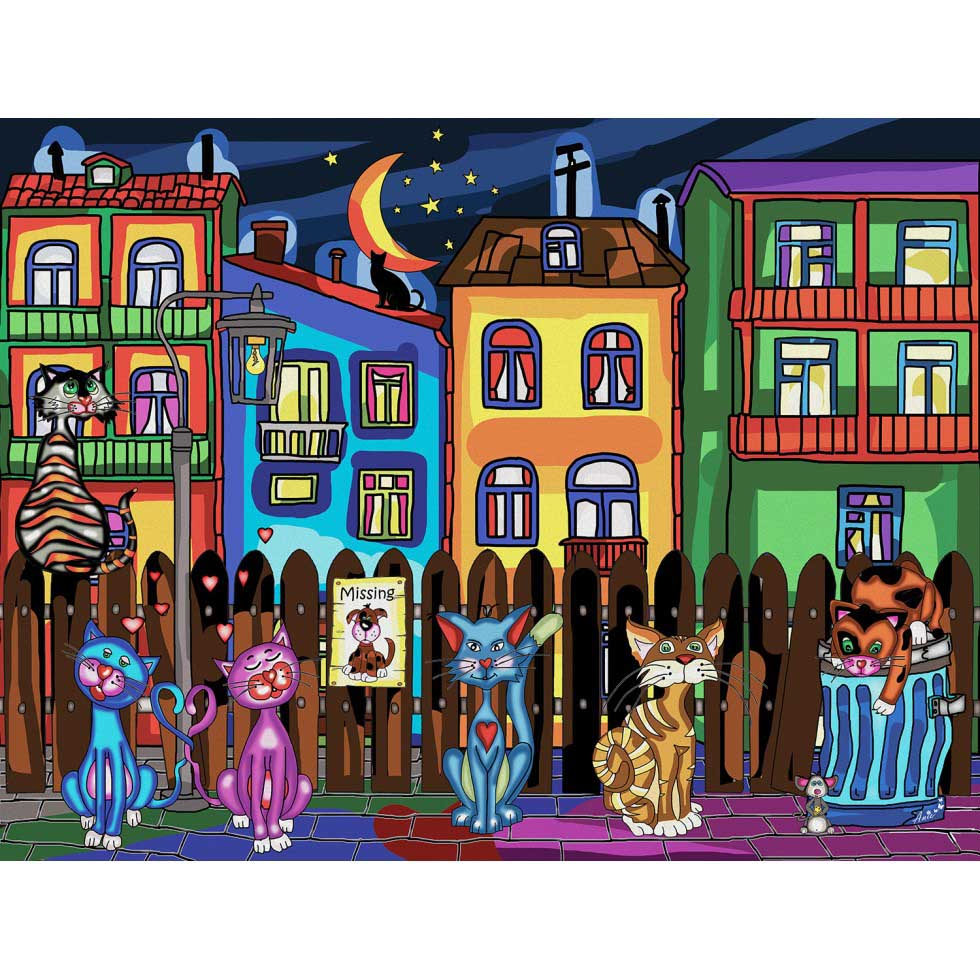 Cat's Night Out Cats Jigsaw Puzzle