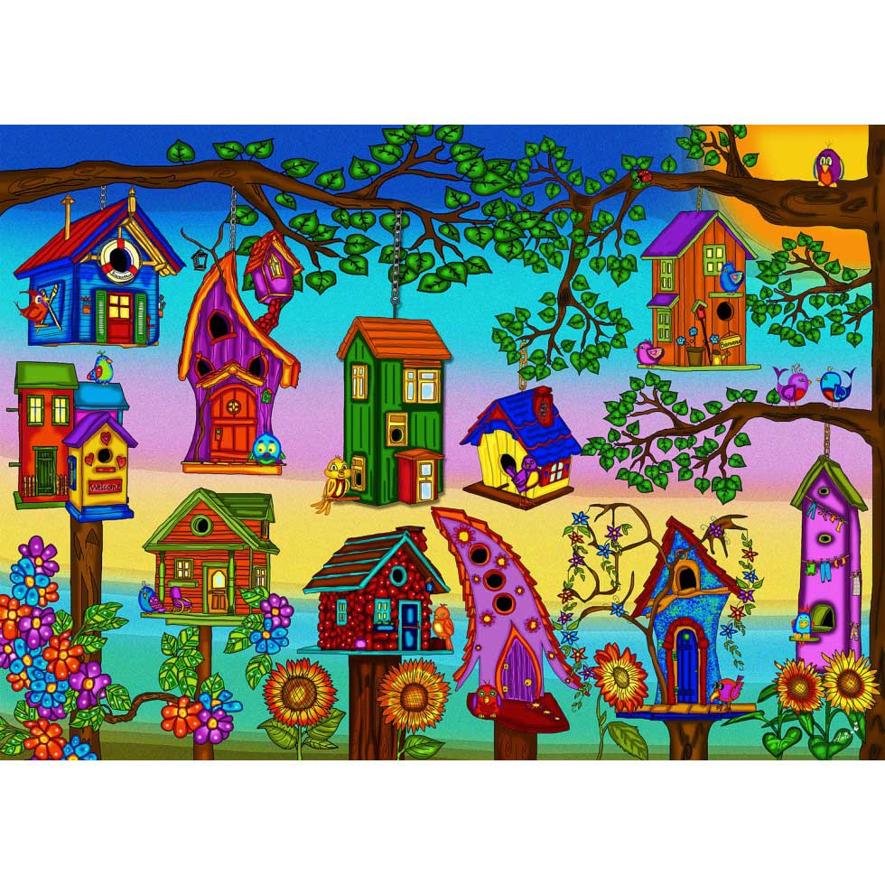 Bird Houses Birds Jigsaw Puzzle