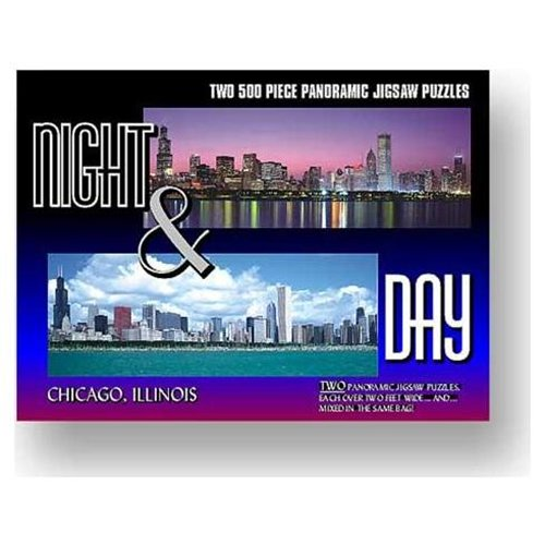 Chicago - Night & Day Panoramic Chicago Jigsaw Puzzle
