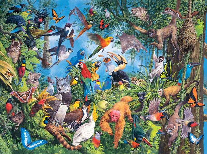 Tropical TreeTops Jungle Animals Jigsaw Puzzle