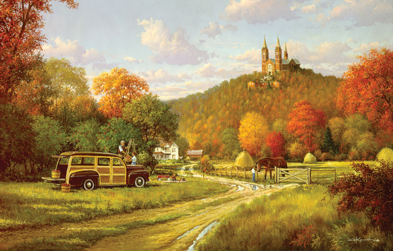 Autumn at Holy Hill Fall Jigsaw Puzzle
