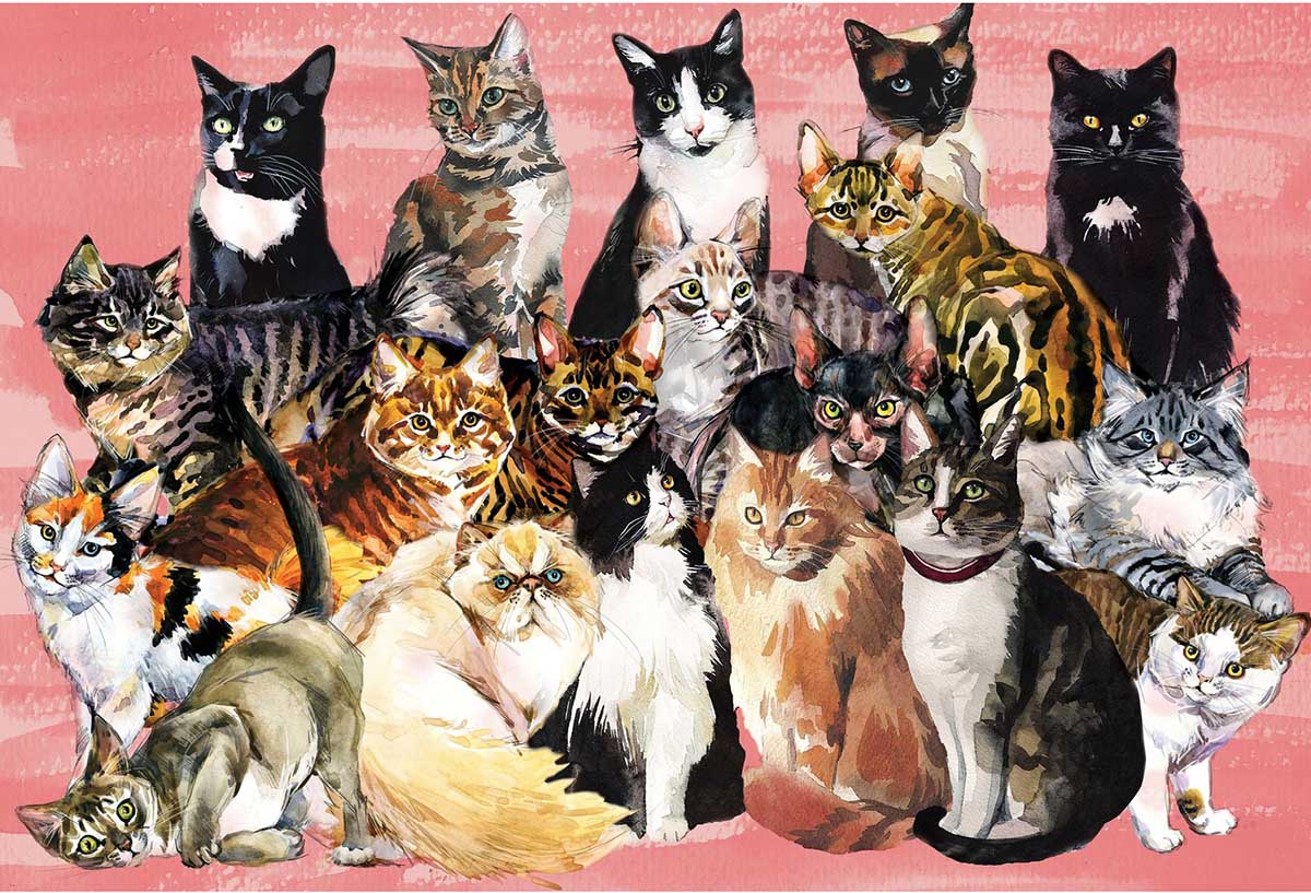 Watercolor Cats Cats Jigsaw Puzzle
