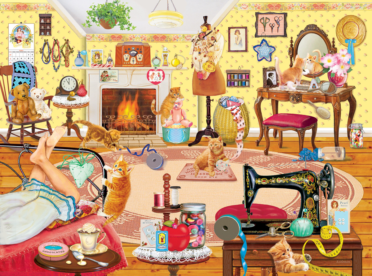 Kittens Visit Betsy's Room Domestic Scene Jigsaw Puzzle