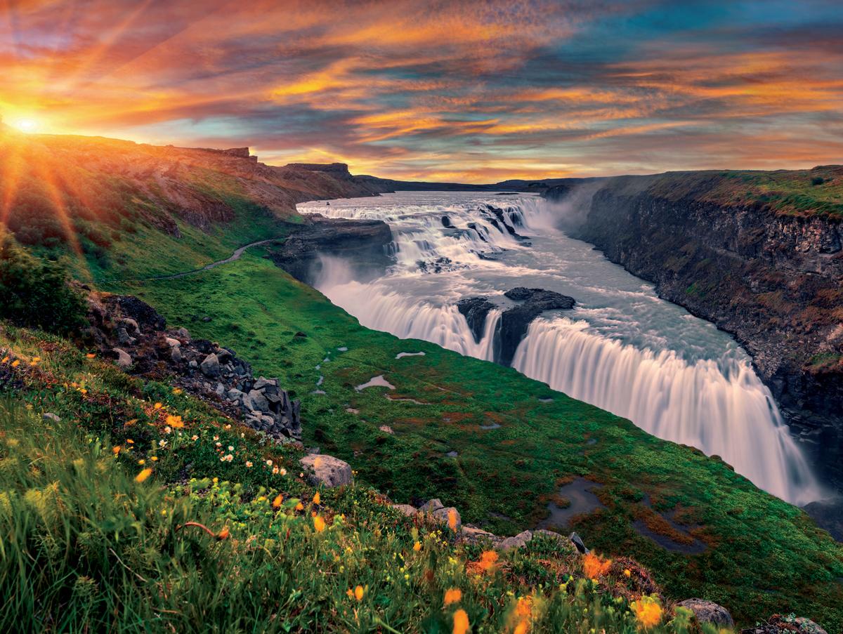 Gullfoss Waterfall, Iceland Waterfalls Jigsaw Puzzle