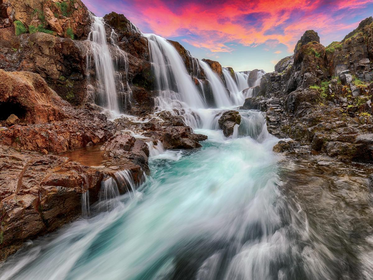 Kolufossar Waterfall Nature Jigsaw Puzzle